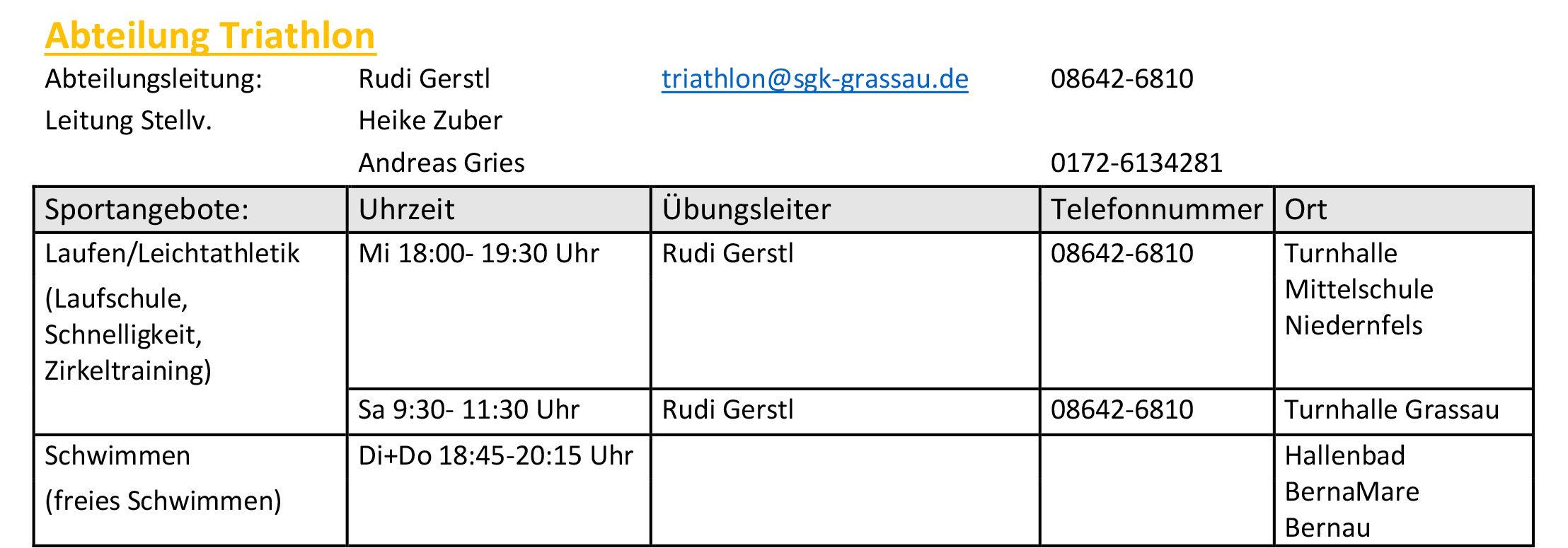 sgk grassau trainigszeiten triathlon
